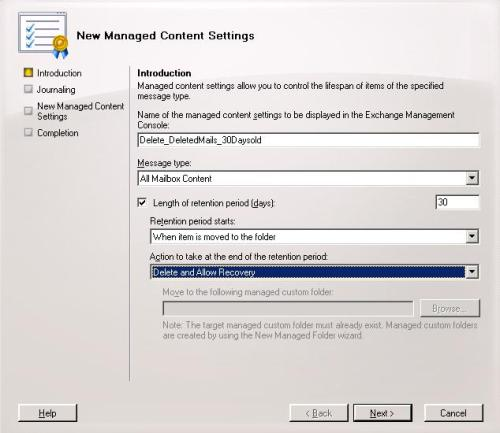 New Managed Content Settings