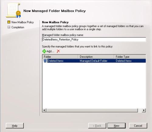 New Managed Folder Mailbox Policy