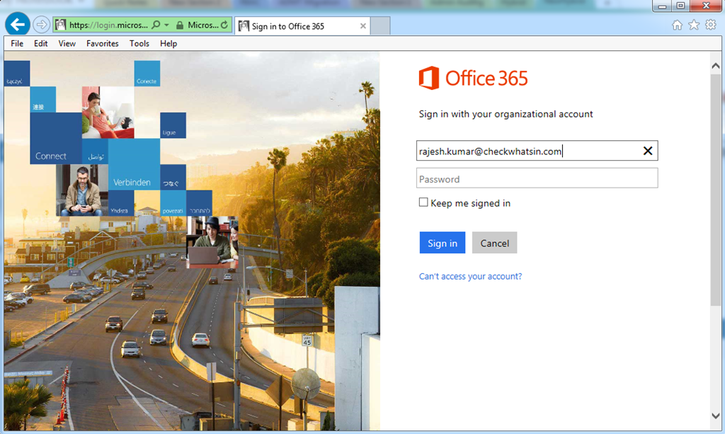 Office 365 Portal Will Check For U0027checkwhatsin.comu0027 SSO Configuration And  It Will Immediately Redirect To The Organization Sign In Page